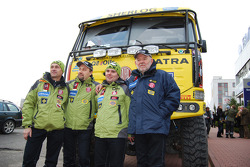 Loprais Tatra Team presentation: driver Ales Loprais, co-driver Vojtech Stajf and co-driver Milan Holan pose with the Tatra race truck