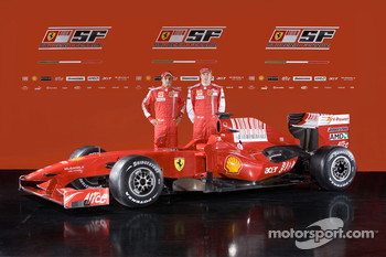 Felipe Massa and Kimi Raikkonen with the new Ferrari F60