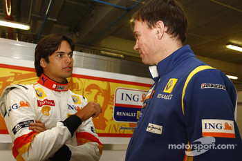 Nelson A. Piquet with Alan Permane, Chief Race Engineer, Renault F1
