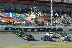 GT start: #70 SpeedSource Mazda RX-8: Jonathan Bomarito, Nick Ham, David Haskell, Sylvain Tremblay leads the field