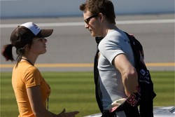 Scott Speed, Red Bull Racing Team Toyota, shares a moment with his girlfriend before his qualiyfing run