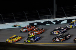 Tony Stewart, Stewart-Haas Racing Chevrolet, and Kevin Harvick, Richard Childress Racing Chevrolet, lead a group of cars