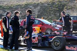 Mark Webber, Red Bull Racing, RB5, stops on circuit