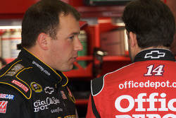 Ryan Newman, Stewart-Haas Racing Chevrolet, and teammate Tony Stewart, Stewart-Haas Racing Chevrolet, discuss after their crash