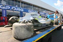Felipe Guimaraes, driver of A1 Team Brazil  crashed car