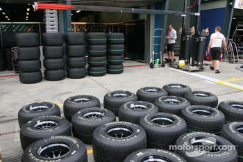 Bridgestone tyres outside the McLaren garage