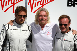 Jenson Button, Brawn GP with Sir Richard Branson CEO of the Virgin Group makes and announcement regarding the Virgin sponsorship deal with Brawn GP and Rubens Barrichello, Brawn GP