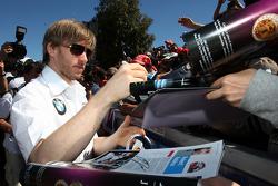 Nick Heidfeld, BMW Sauber F1 Team, signing autographs