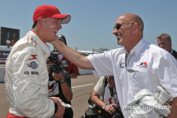 Pole winner Graham Rahal, Newman/Haas/Lanigan Racing, celebrates with his dad Bobby