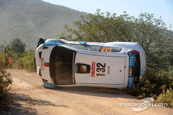 Bernardo Sousa and Jorge Carvalho, Fiat Grande Punto S2000, crash