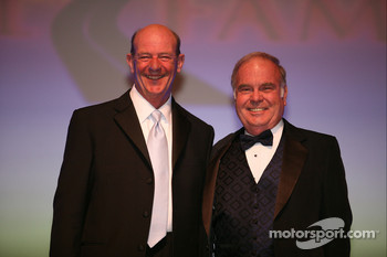 Publisher of Speedway Illustrated and NASCAR on FOX pit reporter Dick Berggren poses with seven-time NASCAR Modified Series champion Jerry Cook following Cook's induction into the International Motorsports Hall of Fame