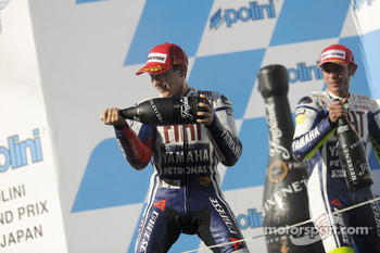 Podium: race winner Jorge Lorenzo, Fiat Yamaha Team, second place Valentino Rossi, Fiat Yamaha Team