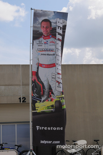 Ed Carpenter, Vision Racing has his banner outside his garage