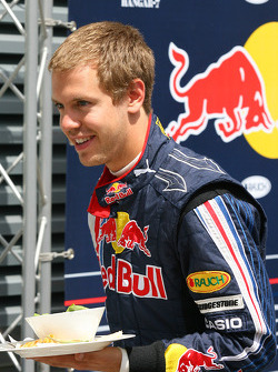 Sebastian Vettel, Red Bull Racing with his lunch