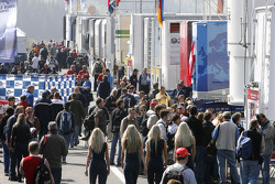 Paddock activity during the autograph session