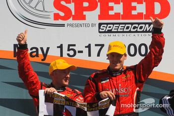 Podium celebration for Jon Fogarty and Alex Gurney