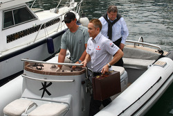 Martin Whitmarsh, McLaren, Chief Executive Officer and Norbert Haug, Mercedes, Motorsport chief going to the FOTA meeting on the boat of Flavio Briatore, Renault F1 Team, Team Chief, Managing Director