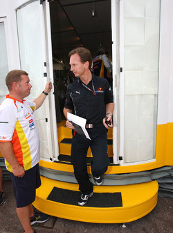 Christian Horner, Red Bull Racing, Sporting Director leaves a meeting of team bosses held in the Renault f1 motorhome