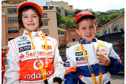 Young fans of the McLaren Mercedes and the Renault F1 Team