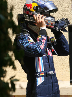 Sebastian Vettel, Red Bull Racing out of the car after crashing