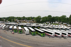 Buses outside the speedway