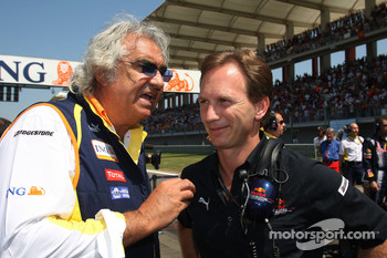 Flavio Briatore, Renault F1 Team, Team Chief, Managing Director and Christian Horner, Red Bull Racing, Sporting Director