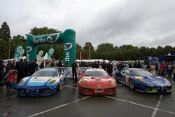 #96 Virgo Motorsport Ferrari F430 GT, #97 BMS Scuderia Italia Ferrari F430 GT, #99 JMB Racing Ferrari F430 GT