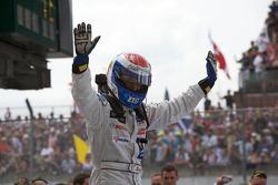 Race winner Marc Gene celebrates