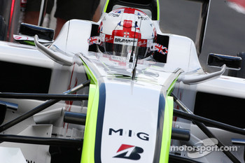 Jenson Button, Brawn GP, with a new helmet