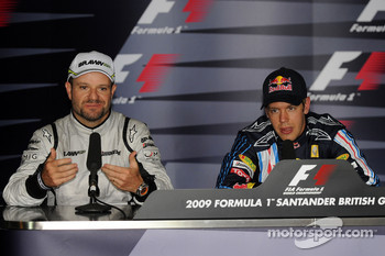 Press conference: pole winner Sebastian Vettel, Red Bull Racing, second place Rubens Barrichello, Brawn GP