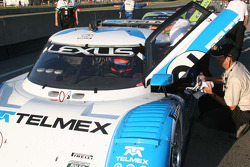 Race winner Scott Pruett prepares to exit the car