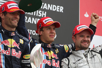 Podium: race winner Sebastian Vettel, Red Bull Racing, second place Mark Webber, Red Bull Racing, third place Rubens Barrichello, Brawn GP