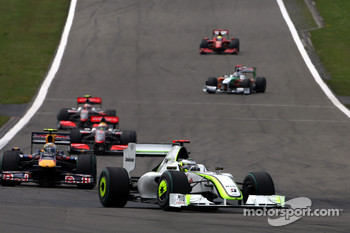 Warmup lap: Jenson Button, Brawn GP in the lead, Sebastian Vettel, Red Bull Racing