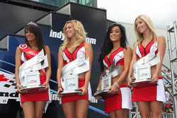 Podium: the lovely Budweiser girls