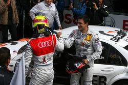 Oliver Jarvis, Audi Sport Team Phoenix Audi A4 DTM, comgratulates Gary Paffett, Team HWA AMG Mercedes C-Klasse