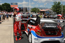 Ford Fiesta driver Marcus Gronholm and co-driver Timo Alanne' arrive for a local press conference at Phil Long Ford in Colorado Springs