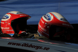 The helmets of Marcus Gronholm and co-driver Timo Alanne in the early morning sunlight