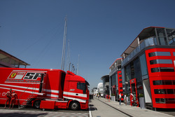Ferrari Motorhome and truck in the paddock