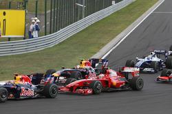 Start: Mark Webber, Red Bull Racing, Sebastian Vettel, Red Bull Racing, Kimi Raikkonen, Scuderia Ferrari