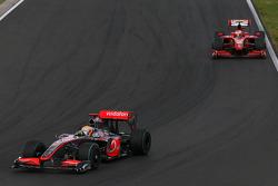 Lewis Hamilton, McLaren Mercedes and Kimi Raikkonen, Scuderia Ferrari and Mark Webber, Red Bull Racing
