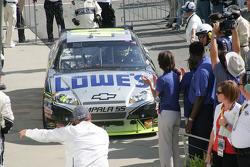 Race winner Jimmie Johnson, Hendrick Motorsports Chevrolet enters victory lane