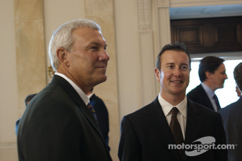 The 1999 NASCAR Sprint Cup Series champion Dale Jarrett and 2004 NASCAR Sprint Cup Series champion Kurt Busch take part in a tour of the White House during NASCAR's visit to Washington, D.C.