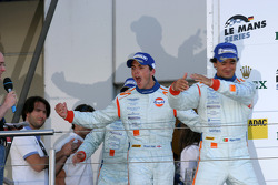 LMP1 podium: third place Miguel Ramos, Stuart Hall and Chris Buncombe