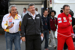 Flavio Briatore, Renault F1 Team, Team Chief, Managing Director, Ross Brawn, Brawn GP, Team Principal, Stefano Domenicali, Scuderia Ferrari, Sporting Director Formula 1 World Championship, Rd 12, Belgian Grand Prix, Saturday