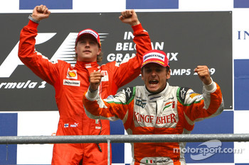 Winner, 1st, Kimi Raikkonen, Scuderia Ferrari and 2nd, Giancarlo Fisichella, Force India F1 Team, VJM-02