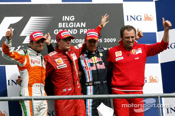 Giancarlo Fisichella, Force India F1 Team, Kimi Raikkonen, Scuderia Ferrari, Sebastian Vettel, Red Bull Racing and Stefano Domenicali, Scuderia Ferrari Sporting Director