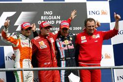 Giancarlo Fisichella, Force India F1 Team, Kimi Raikkonen, Scuderia Ferrari, Sebastian Vettel, Red Bull Racing and Stefano Domenicali, Scuderia Ferrari Sporting Director