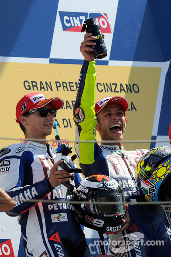 Podium: race winner Valentino Rossi, Fiat Yamaha Team, and second place Jorge Lorenzo, Fiat Yamaha Team