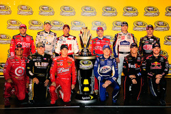 The 2009 Chase for the NASCAR Sprint Cup field top row: Tony Stewart, Carl Edwards, Greg Biffle, Mark Martin, Jimmie Johnson, Jeff Gordon, and bottom row: Juan Pablo Montoya, Ryan Newman, Kasey Kahne, Kurt Busch, Denny Hamlin, Brian Vickers