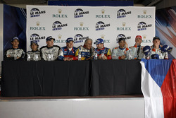Post-race press conference: class and overall winners Olivier Panis and Nicolas Lapierre, second place Andrea Belicchi, Marcel Fässler and Nicolas Prost, third place Jan Charouz, Tomas Enge and Stefan Mücke